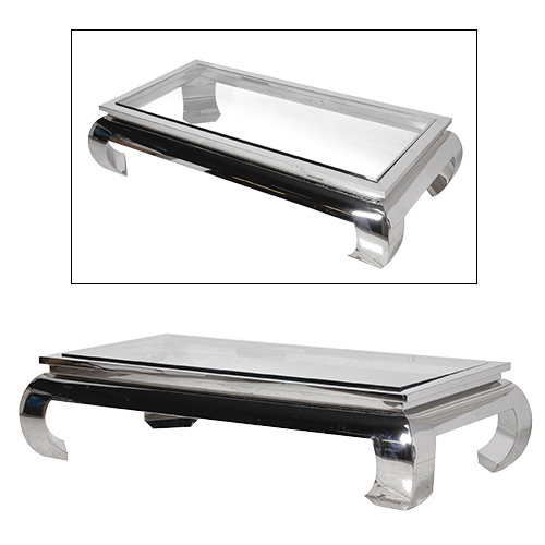Fantastic Popular Large Rectangular Coffee Tables Pertaining To Glass And Chrome Coffee Table (Image 16 of 40)