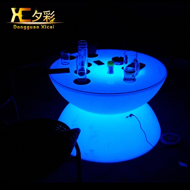 Fantastic Popular Led Coffee Tables Regarding Aliexpress Buy Plastic Led Coffee Table Round Wine Tea End (Image 23 of 50)