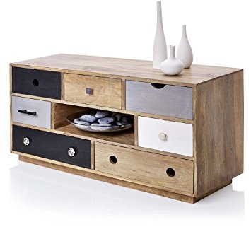 Fantastic Popular Mango Wood TV Stands In Multi Colour Drawers Wooden Tv Cabinet With Dvd Storage In Natural (Image 19 of 50)