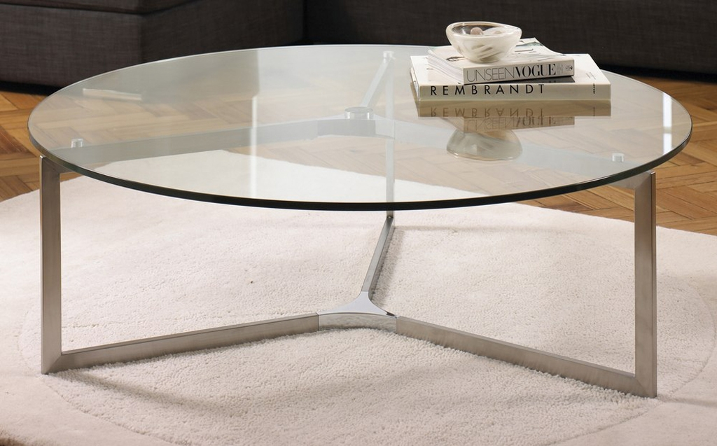 Fantastic Popular Metal Coffee Tables With Glass Top With Regard To Round Glass Top Coffee Table (Image 21 of 50)