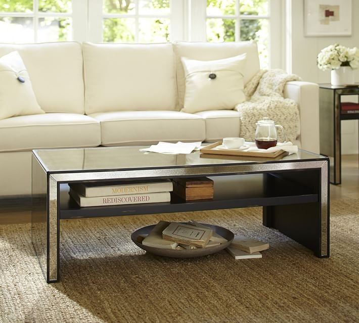 Fantastic Popular Mirrored Coffee Tables Inside Marnie Mirrored Coffee Table Pottery Barn (Image 18 of 50)