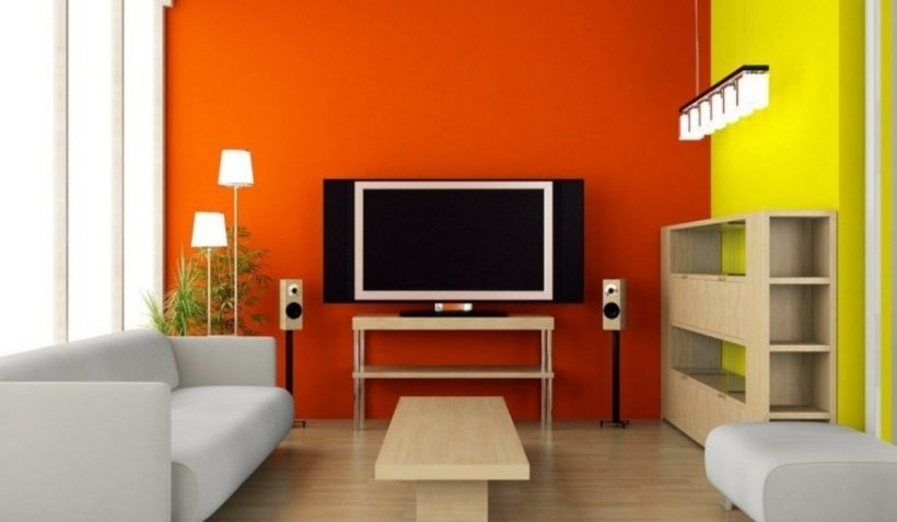 Fantastic Popular Orange TV Stands Regarding Living Room Colorful Paint Wall Using Yellow And Orange Tv Stand (Image 20 of 50)
