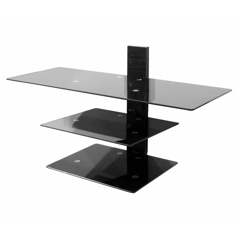 Fantastic Popular Wall Mounted TV Stands With Shelves Within Avf Wall Mounted Glass Shelving System For 50 In Tvs Piano Black (Image 25 of 50)
