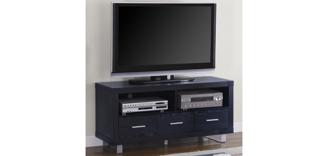 Fantastic Preferred Contemporary Black TV Stands In 700644 Contemporary Tv Stand In Rich Black Finish (View 31 of 50)