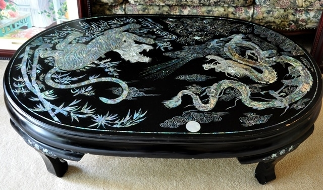 Fantastic Preferred Dragon Coffee Tables Intended For Vintage Korean Lacquer Coffee Table With Mother Of Pearl Inlay (Image 21 of 50)