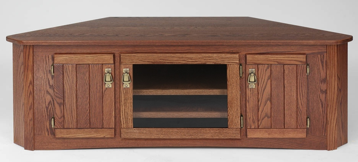 Fantastic Preferred Hardwood TV Stands In Mission Style Solid Oak Corner Tv Stand Wglass Door 64 The (View 50 of 50)