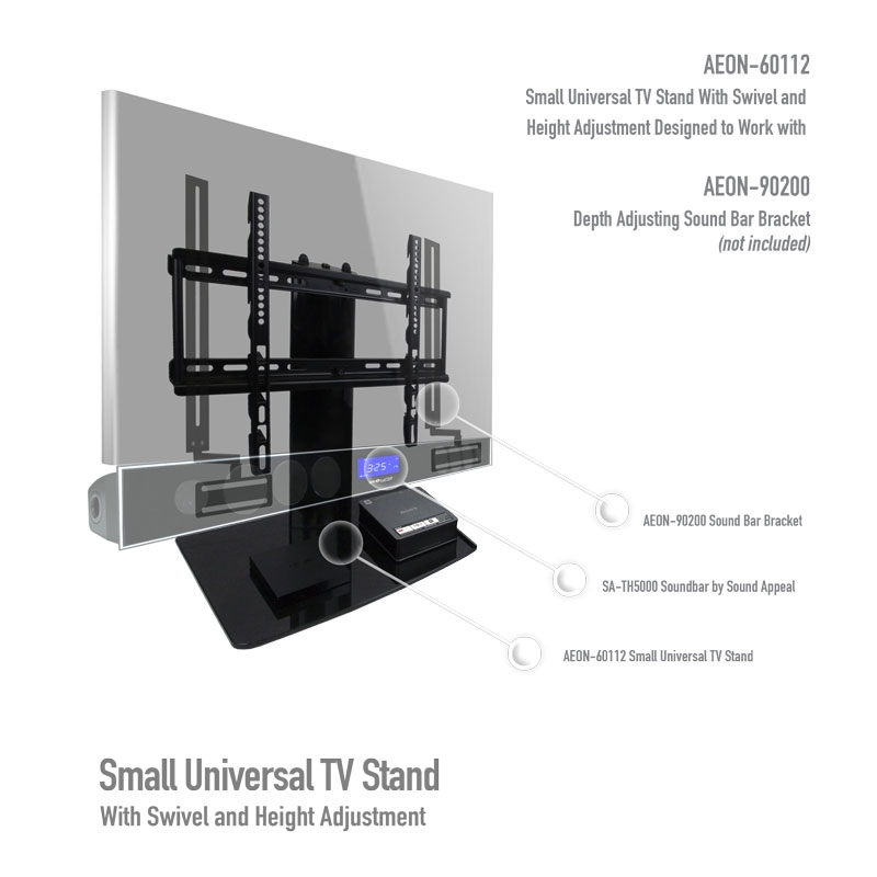 Fantastic Preferred Swivel Black Glass TV Stands Throughout Universal I Tabletop Tv Stand Swivel I Height Adjustment (Image 23 of 50)
