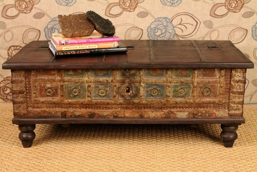 Fantastic Preferred Trunks Coffee Tables Regarding Decor Of Antique Trunk Coffee Table Large Coffee Table Flat Top (Image 12 of 40)