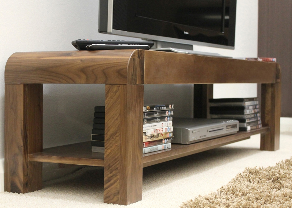 Fantastic Preferred Widescreen TV Cabinets Regarding Baumhaus Cdr09a Shiro Solid Walnut Low Widescreen Tv Cabinet (View 50 of 50)