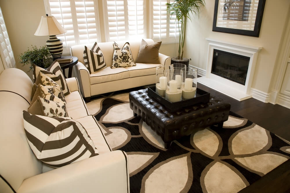 Fantastic Premium Beige Coffee Tables Pertaining To 50 Beautiful Living Rooms With Ottoman Coffee Tables (Image 18 of 40)
