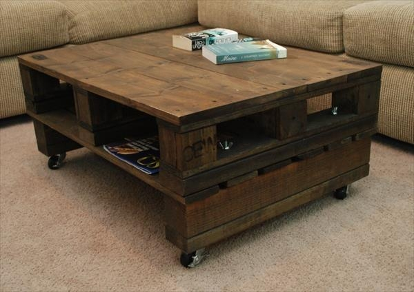 Fantastic Premium Coffee Tables With Wheels Inside Diy Pallet Coffee Table Wheel (View 8 of 40)