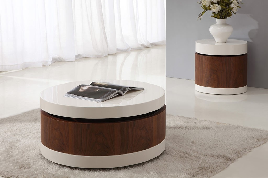 Fantastic Premium Round High Gloss Coffee Tables Regarding Rolo Round High Gloss Coffee Table Coffee Tables (View 4 of 50)