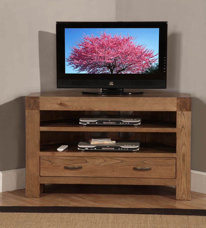Fantastic Premium Solid Wood Corner TV Cabinets Within Santana Oak Corner Tv Cabinet (Image 21 of 50)
