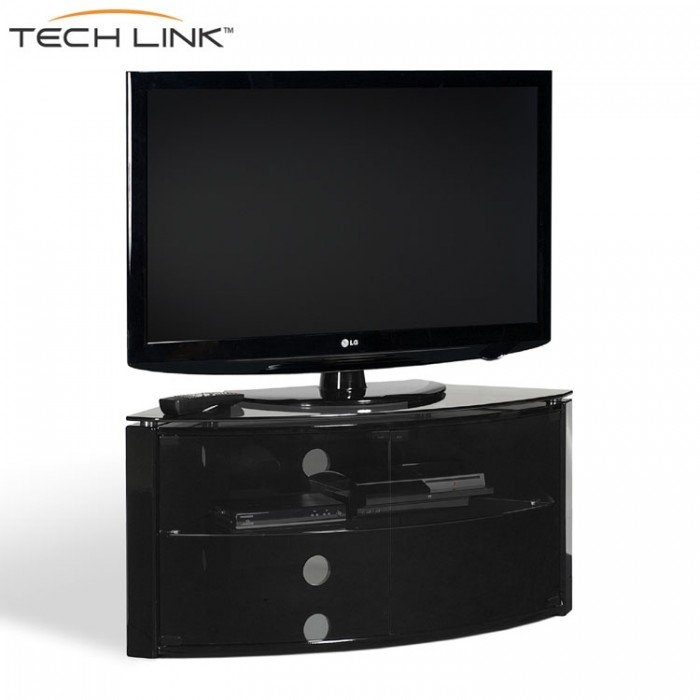 Fantastic Premium TV Cabinets Corner Units In Techlink B6b Bench Piano Gloss Black With Smoked Glass Corner Tv (Image 16 of 50)