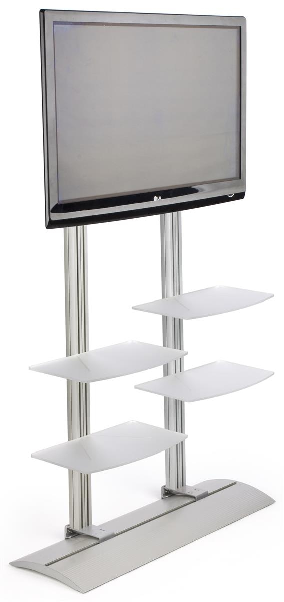 Fantastic Series Of Acrylic TV Stands Inside Flat Tv Stand 4 Acrylic Storage Shelves (Image 20 of 50)