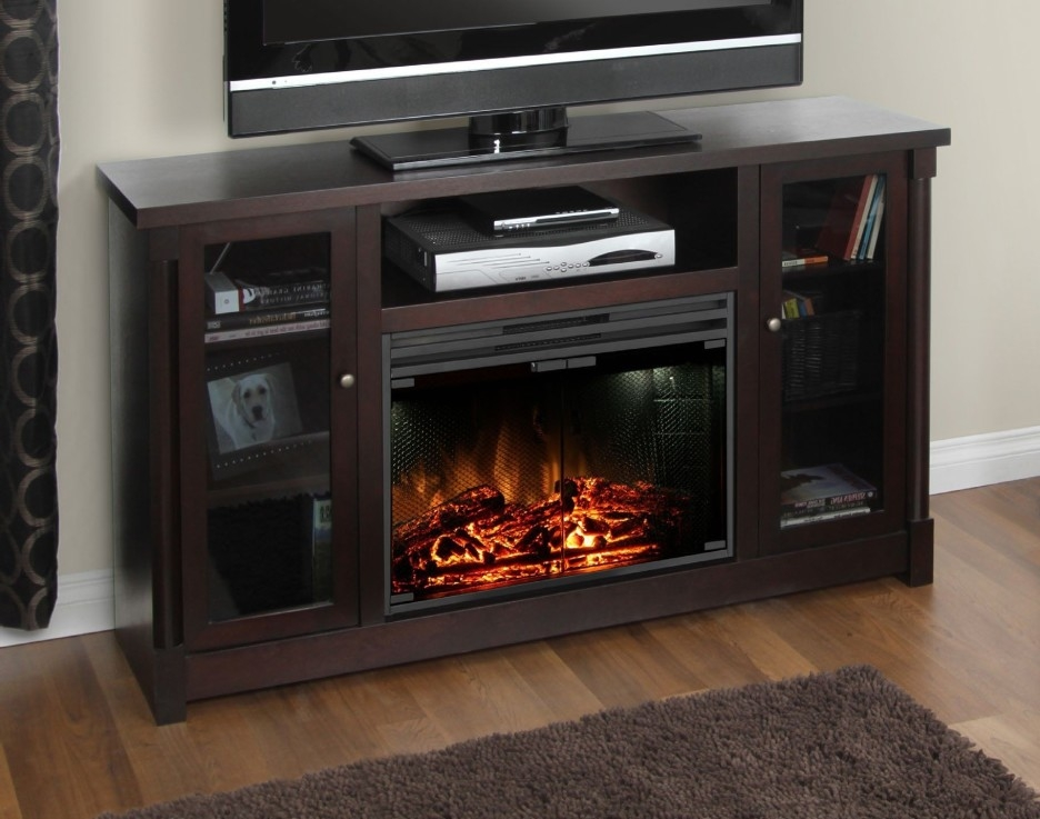 Fantastic Series Of Black Corner TV Cabinets With Glass Doors Within Tv Cabinets With Glass Doors (Image 18 of 50)