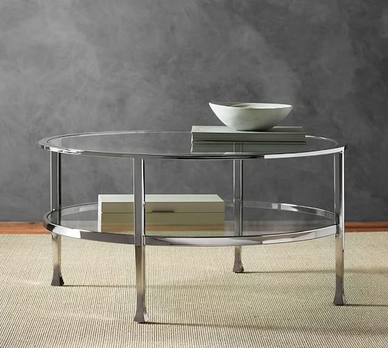 Fantastic Series Of C Coffee Tables Intended For Tanner Round Coffee Table Polished Nickel Finish Pottery Barn (View 45 of 50)