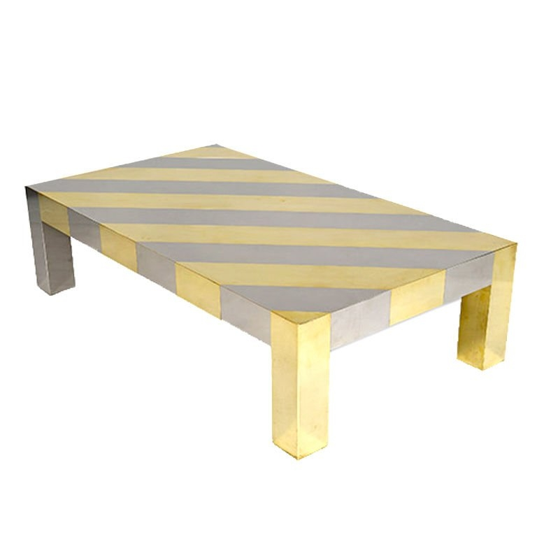 Fantastic Series Of Chrome And Wood Coffee Tables With Diagonal Striped Chrome And Brass Centre Table For Sale At 1stdibs (Image 16 of 50)