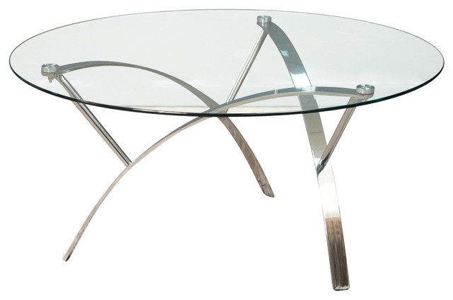 Fantastic Series Of Coffee Tables With Chrome Legs With Regard To Tempered Glass Round Accent Table Chrome Legs Contemporary (Image 19 of 50)