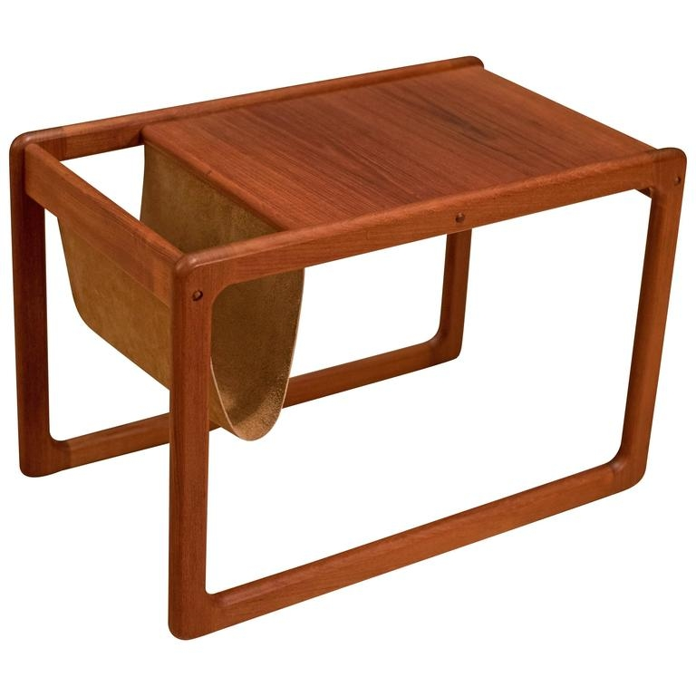 Fantastic Series Of Coffee Tables With Magazine Rack Inside Vintage Danish Leather Magazine Rack Side Table At 1stdibs (Image 17 of 50)