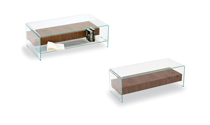 Fantastic Series Of Glass Coffee Tables With Shelf Inside Bridge Shelf Curved Glass Coffee Table For The Living Sovet (View 45 of 50)