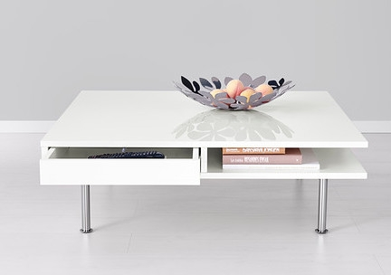 Fantastic Series Of Large Low White Coffee Tables Throughout Low High Gloss White Coffee Table With Storage And Separate Shelf (View 9 of 50)