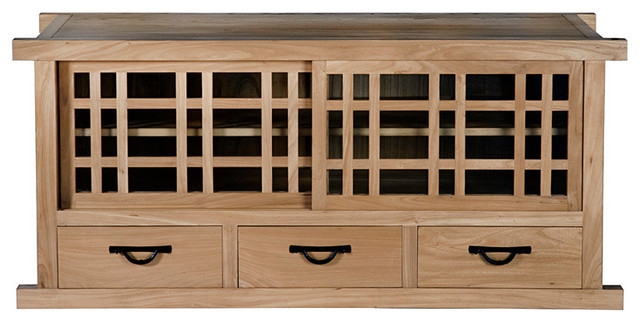Fantastic Series Of Long TV Stands Furniture Within Tansu Long Tv Stand Natural Walnut Craftsman Entertainment (Image 19 of 50)