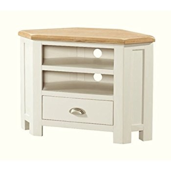 Fantastic Series Of Oak Corner TV Cabinets Within Ascot Oak 1 Drawer Corner Tv Stand Oak And Stone White Amazonco (Image 19 of 50)