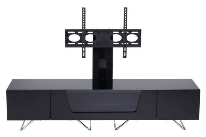Fantastic Series Of White Cantilever TV Stands Within Chromium 1600mm Cantilever Tv Stand In Black Cro2 1600bkt Blk (Image 19 of 50)
