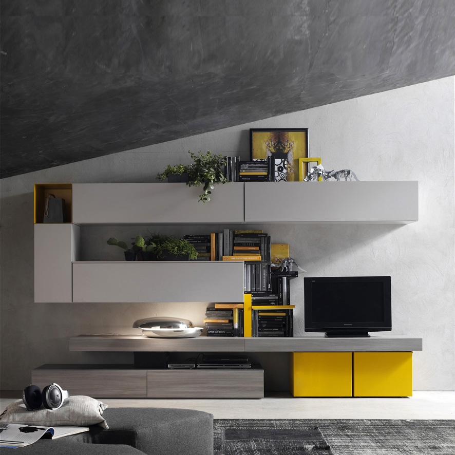 Fantastic Series Of Yellow TV Stands Inside Italian Tv Media Unit Yellow Grey Santa Lucia L 360 H 170 D (View 22 of 50)