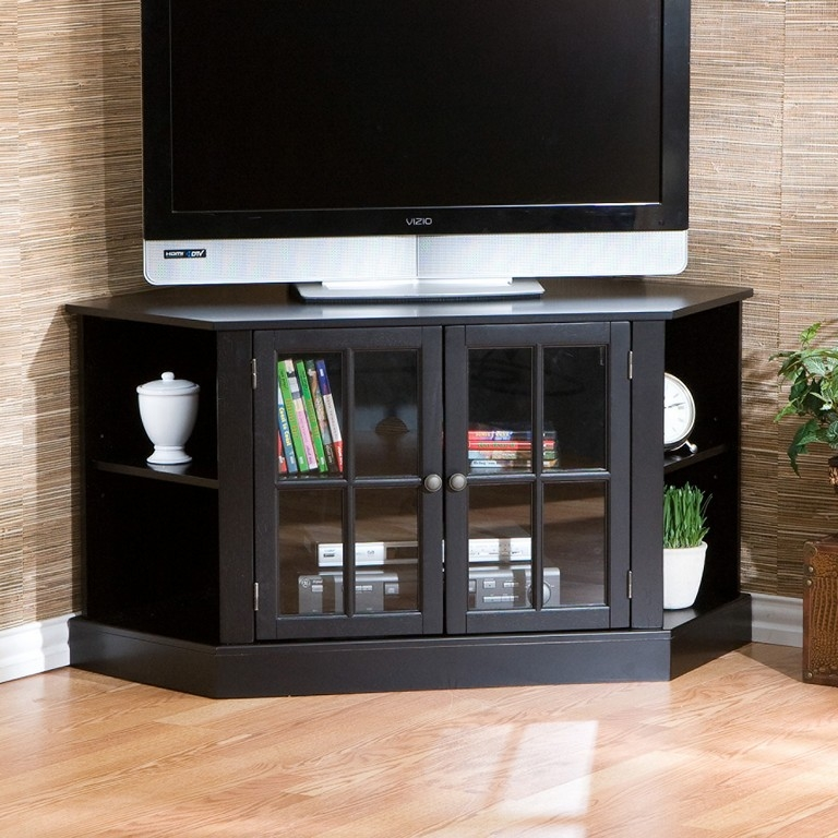 Fantastic Top Black TV Cabinets With Doors Pertaining To Black Tv Stand With Glass Doors (Image 23 of 50)
