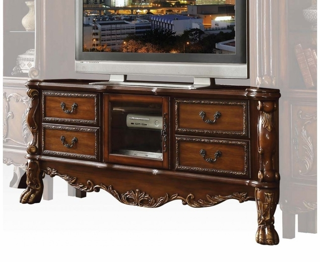 Fantastic Top Cherry Wood TV Stands Regarding Traditional Carved Wood Tv Stand In Antique Cherry Oak (Image 11 of 50)