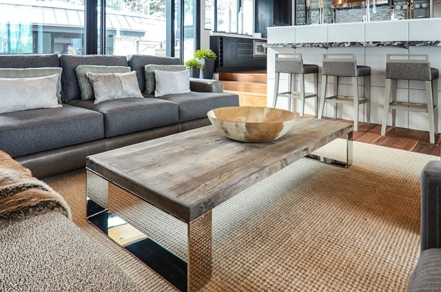 Fantastic Top Chrome And Wood Coffee Tables With Regard To Great Room With Reclaimed Wood And Chrome Coffee Table Modern (Image 17 of 50)