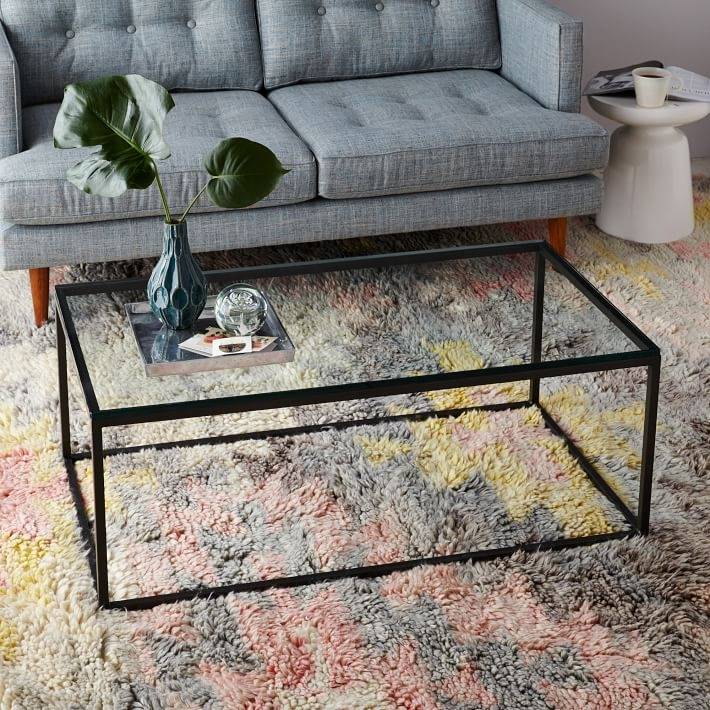 Fantastic Top Iron Glass Coffee Table Inside Box Frame Coffee Table Glassantique Bronze West Elm (Image 21 of 50)