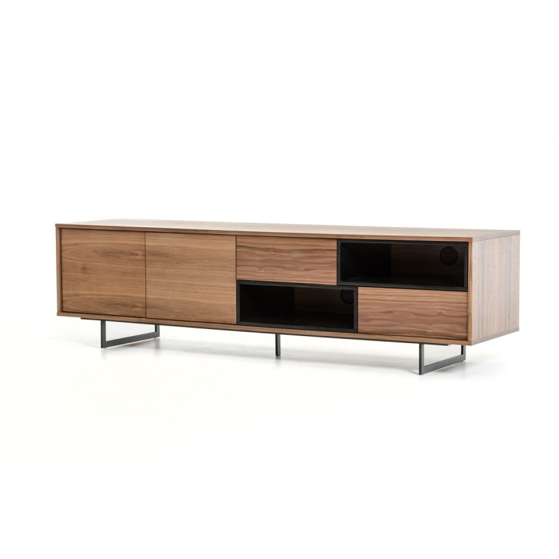 Fantastic Top Walnut TV Stands With Regard To Buy The Modrest Torlonia Modern Walnut Black Tv Stand Vig (View 28 of 50)