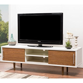 Fantastic Top Wooden TV Stands With Doors With Regard To Amazon Baxton Studio Gemini Wood Contemporary Tv Stand White (Image 15 of 50)