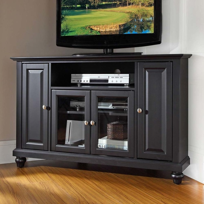 Fantastic Trendy Contemporary Corner TV Stands Pertaining To Cambridge Corner Tv Stands At Brookstonebuy Now (View 12 of 50)
