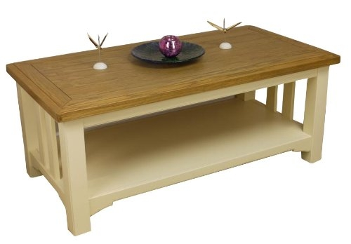 Fantastic Trendy Cream And Oak Coffee Tables In Painted Oak Coffee Table With Shelf Amazoncouk Kitchen Home (Image 20 of 40)