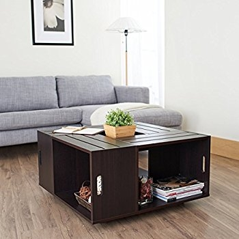 Fantastic Trendy Espresso Coffee Tables In Amazon Rustic Square Crate Style Wood Like Coffee Table With (Image 15 of 50)