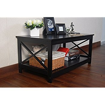 Fantastic Trendy Espresso Coffee Tables Within Amazon Espresso Finish X Design Wooden Cocktail Coffee Table (View 48 of 50)