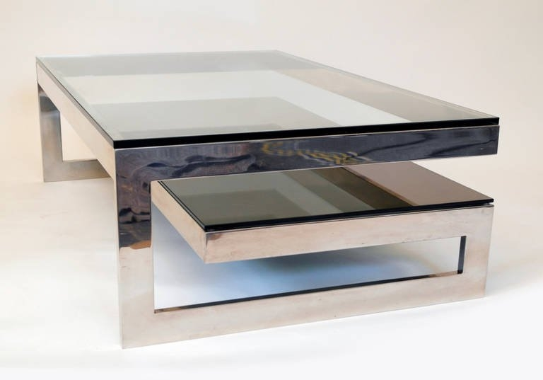 Fantastic Trendy Glass Coffee Tables With Shelf For Cantilevered G Mirror Chrome Coffee Table With Smoke Glass (View 41 of 50)