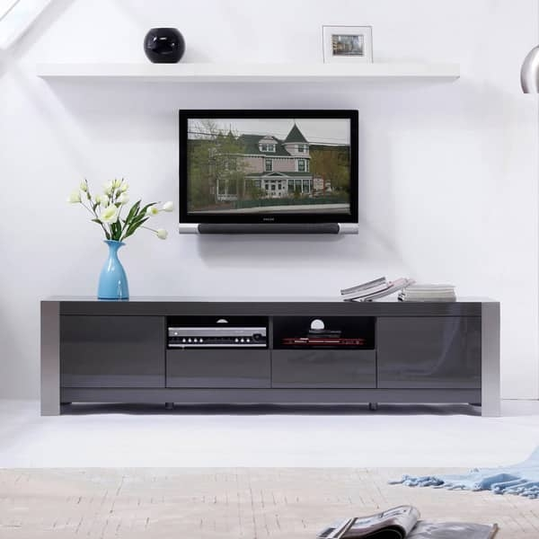 Fantastic Trendy Grey TV Stands In Maya Grey High Gloss Stainless Steel Tv Stand Free Shipping (Image 25 of 50)
