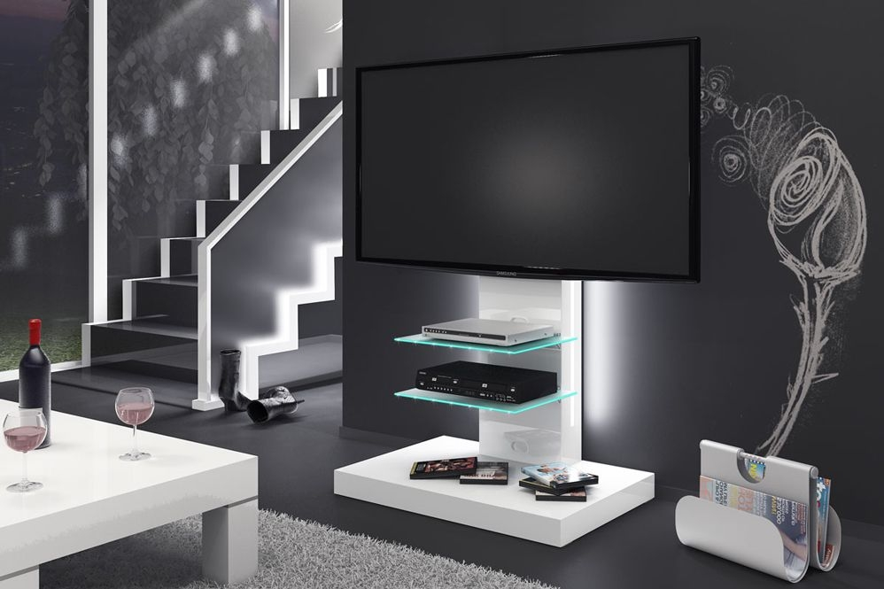Fantastic Trendy Illuminated TV Stands Intended For Marino White Tv Stand (Image 20 of 50)