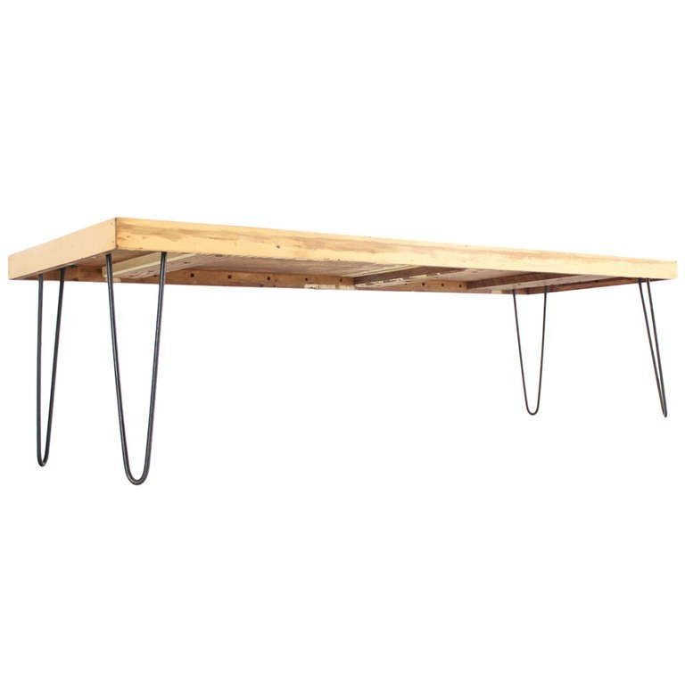 Fantastic Trendy Large Rectangular Coffee Tables With Large Rectangular Vintage Solid Birch Top With Hairpin Leg Coffee (Image 19 of 40)