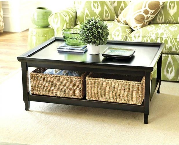Fantastic Trendy Square Coffee Tables With Storages Pertaining To Square Coffee Table With Storage Baskets Woodoak Tables Space (View 22 of 50)