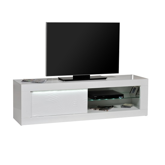 Fantastic Unique Black TV Cabinets With Doors Intended For Carmen Tv Cabinet In White Gloss With Sliding Door And Led (Image 24 of 50)