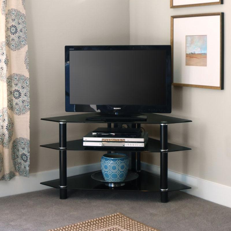 Fantastic Unique Black Wood Corner TV Stands With Regard To Walker Edison Bermuda Black Glass Corner Tv Stand Black V44y76b (Image 19 of 50)