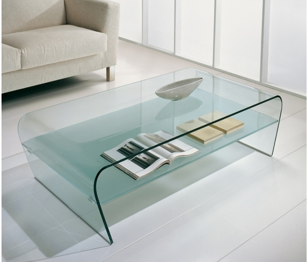 Fantastic Unique Curved Glass Coffee Tables Regarding Glass Coffee Table With Shelf Idi Design (Image 21 of 50)