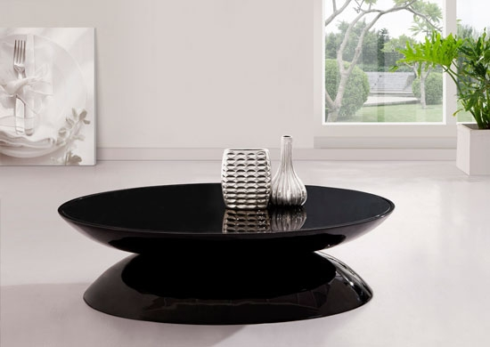 Fantastic Unique Dark Glass Coffee Tables Pertaining To Beautiful Black Glass Coffee Table With White Gloss Legs In Decor (Image 24 of 50)