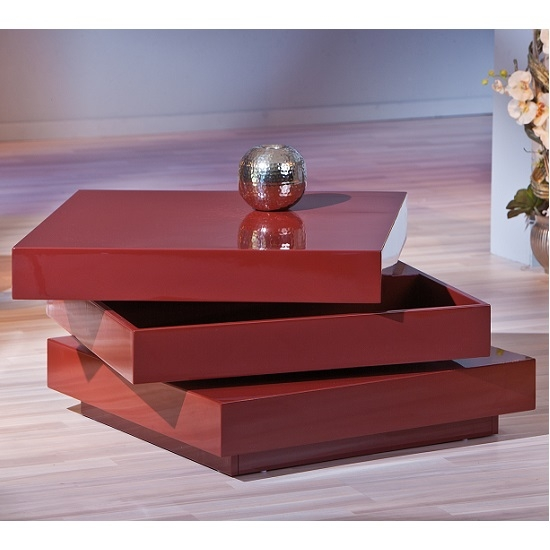Fantastic Unique Red Gloss Coffee Tables In Triomo Storage Coffee Table With Rotation In Marsala High (Image 15 of 40)